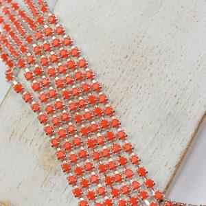 2.4 mm rhinestone chain with Coral Preciosa crystals in silver setting x 20 cm