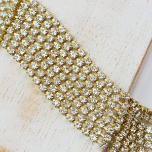 2.4 mm rhinestone chain with Crystal Preciosa crystals in raw setting x 20 cm