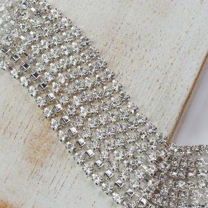 2.4 mm rhinestone chain with Crystal Preciosa crystals in silver setting x 20 cm