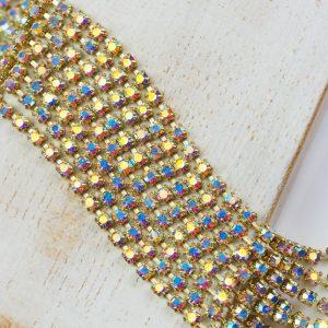 2.4 mm rhinestone chain with Crystal AB Preciosa crystals in raw setting x 20 cm