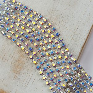 2.4 mm rhinestone chain with Crystal AB Preciosa crystals in silver setting x 20 cm