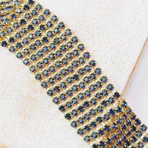 2.4 mm rhinestone chain with Crystal Heliotrope Preciosa crystals in raw setting x 20 cm