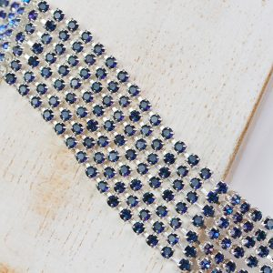 2.4 mm rhinestone chain with Crystal Heliotrope Preciosa crystals in silver setting x 20 cm