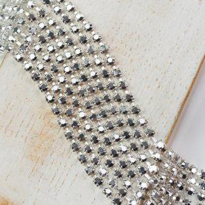 2.4 mm rhinestone chain with Full Silver Crystal Labrador Preciosa crystals in raw setting x 20 cm