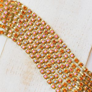 2.4 mm rhinestone chain with Crystal Lava Preciosa crystals in raw setting x 20 cm