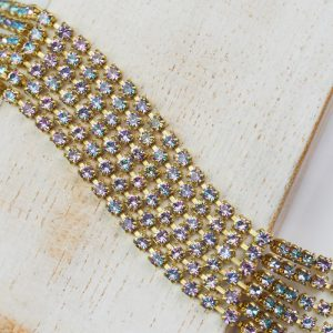 2.4 mm rhinestone chain with Crystal Vitrail Light Preciosa crystals in raw setting x 20 cm