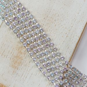 2.4 mm rhinestone chain with Crystal Vitrail Light Preciosa crystals in silver setting x 20 cm