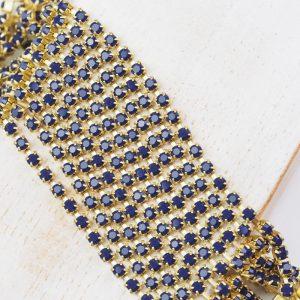2.4 mm rhinestone chain with Deep Sea Preciosa crystals in raw setting x 20 cm