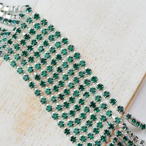 2.4 mm rhinestone chain with Emerald Preciosa crystals in silver setting x 20 cm