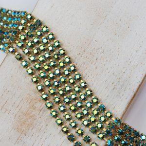 2.4 mm rhinestone chain with Emerald AB Preciosa crystals in raw setting x 20 cm