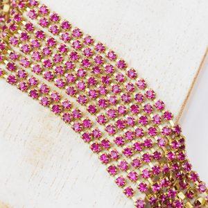 2.4 mm rhinestone chain with Fuchsia Preciosa crystals in raw setting x 20 cm