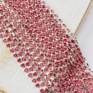 2.4 mm rhinestone chain with Indian Pink Preciosa crystals in silver setting x 20 cm