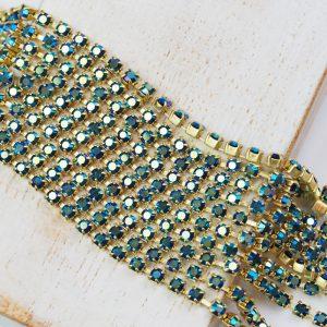 2.4 mm rhinestone chain with Jet AB Preciosa crystals in raw setting x 20 cm