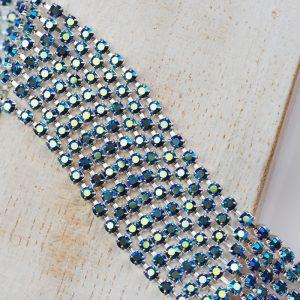 2.4 mm rhinestone chain with Jet AB Preciosa crystals in silver setting x 20 cm