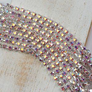 2.4 mm rhinestone chain with Light Rose AB Preciosa crystals in silver setting x 20 cm