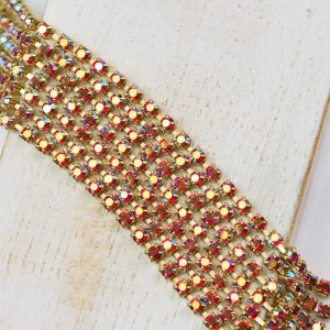 2.4 mm rhinestone chain with Light Siam AB Preciosa crystals in raw setting x 20 cm