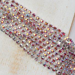 2.4 mm rhinestone chain with Light Siam AB Preciosa crystals in silver setting x 20 cm