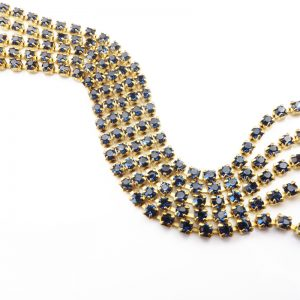 2.4 mm rhinestone chain with Montana Preciosa crystals in raw setting x 20 cm