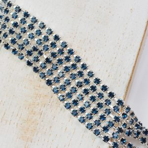 2.4 mm rhinestone chain with Montana Preciosa crystals in silver setting x 20 cm