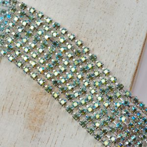 2.4 mm rhinestone chain with Peridot AB Preciosa crystals in silver setting x 20 cm