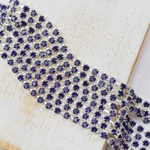 2.4 mm rhinestone chain with Purple Velvet Preciosa crystals in silver setting x 20 cm