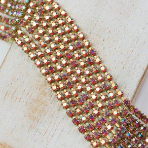 2.4 mm rhinestone chain with Rose AB Preciosa crystals in raw setting x 20 cm