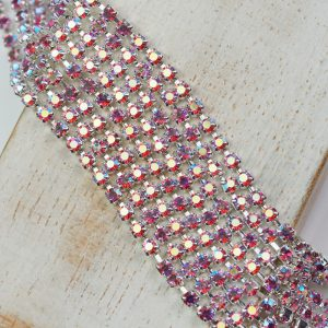 2.4 mm rhinestone chain with Rose AB Preciosa crystals in silver setting x 20 cm