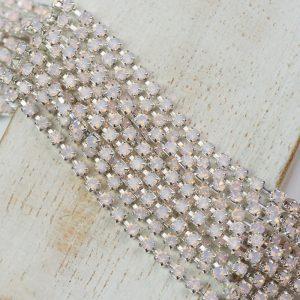 2.4 mm rhinestone chain with Rose Opal Preciosa crystals in silver setting x 20 cm