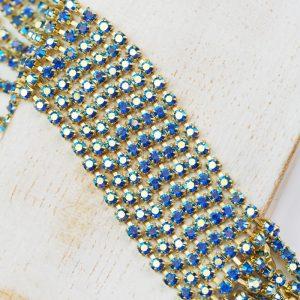 2.4 mm rhinestone chain with Sapphire AB Preciosa crystals in raw setting x 20 cm