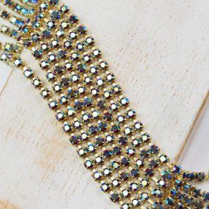 2.4 mm rhinestone chain with Siam AB Preciosa crystals in raw setting x 20 cm