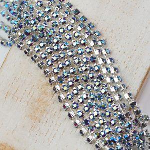 2.4 mm rhinestone chain with Siam AB Preciosa crystals in silver setting x 20 cm
