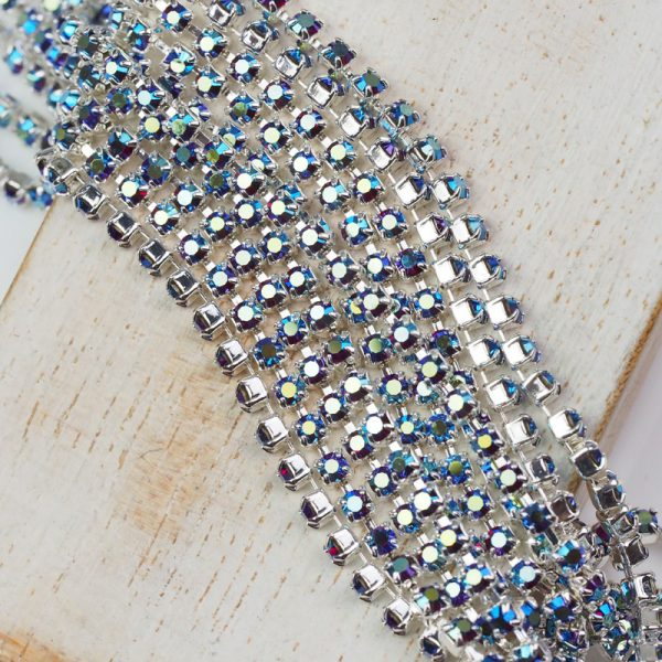 2.4 mm rhinestone chain with Siam AB Preciosa crystals in silver setting x 20 cm