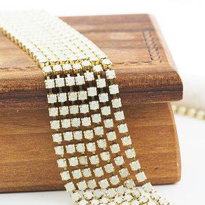 2.4 mm rhinestone chain with White Opal Preciosa crystals in raw setting x 20 cm