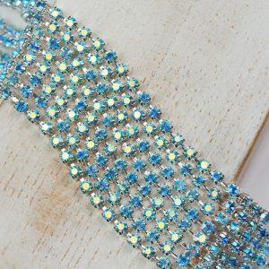 2.5 mm rhinestone chain with Aqua Bohemica AB Preciosa crystals in silver setting x 20 cm