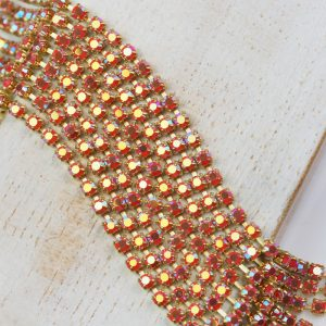 2.5 mm rhinestone chain with Coral AB Preciosa crystals in raw setting x 20 cm