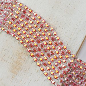 2.5 mm rhinestone chain with Coral AB Preciosa crystals in silver setting x 20 cm