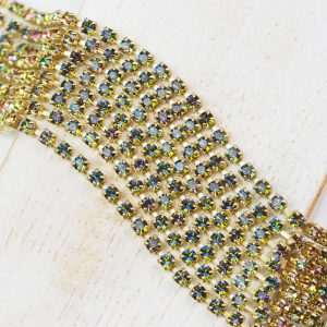 2.5 mm rhinestone chain with Crystal Vitrail Medium Preciosa crystals in raw setting x 20 cm