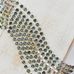 2.5 mm rhinestone chain with Crystal Vitrail Medium Preciosa crystals in silver setting x 20 cm