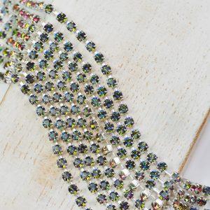 2.5 mm rhinestone chain with Crystal Vitrail Medium Preciosa crystals in silver setting x 20 cm