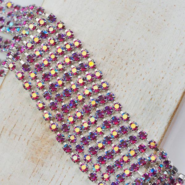 2.5 mm rhinestone chain with Fuchsia AB Preciosa crystals in silver setting x 20 cm