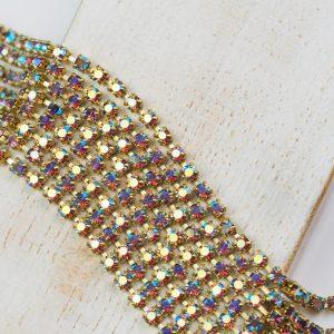 2.5 mm rhinestone chain with Light Amethyst AB Preciosa crystals in raw setting x 20 cm