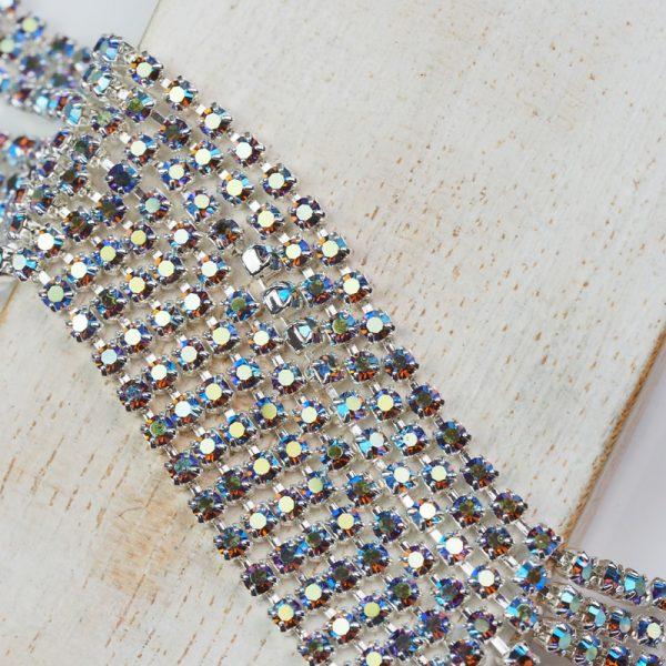 2.5 mm rhinestone chain with Light Amethyst AB Preciosa crystals in silver setting x 20 cm