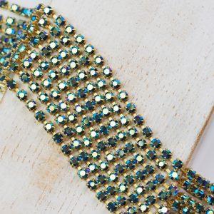 2.5 mm rhinestone chain with Montana AB Preciosa crystals in raw setting x 20 cm
