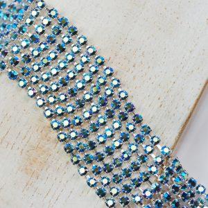 2.5 mm rhinestone chain with Montana AB Preciosa crystals in silver setting x 20 cm
