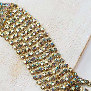 2.5 mm rhinestone chain with Smoked Topaz AB Preciosa crystals in raw setting x 20 cm