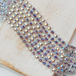 2.5 mm rhinestone chain with Smoked Topaz AB Preciosa crystals in silver setting x 20 cm
