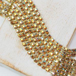 2.5 mm rhinestone chain with Topaz AB Preciosa crystals in raw setting x 20 cm