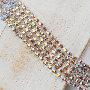 2.5 mm rhinestone chain with Topaz AB Preciosa crystals in silver setting x 20 cm