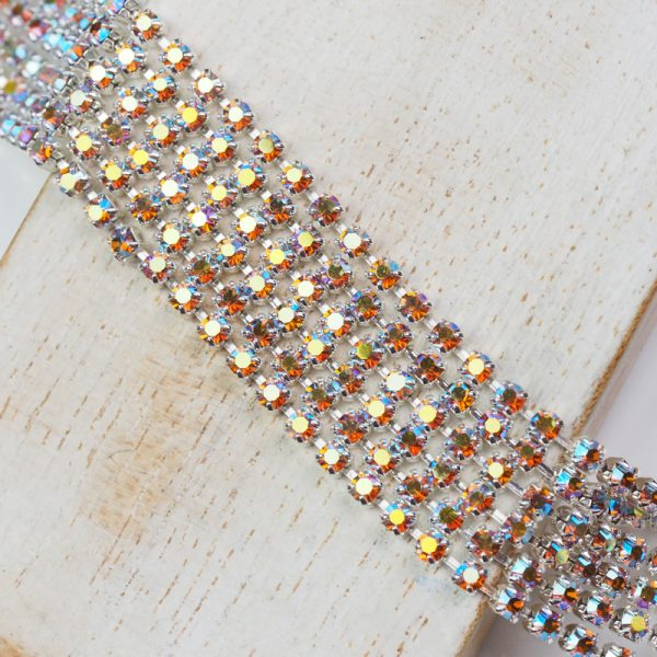 2.5 mm rhinestone chain with Topaz AB Preciosa crystals in silver setting x 20 cm