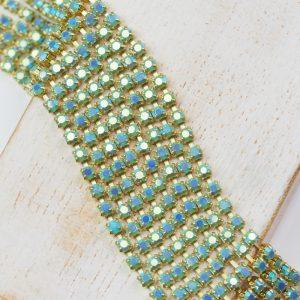 2.5 mm rhinestone chain with Turquoise AB Preciosa crystals in raw setting x 20 cm